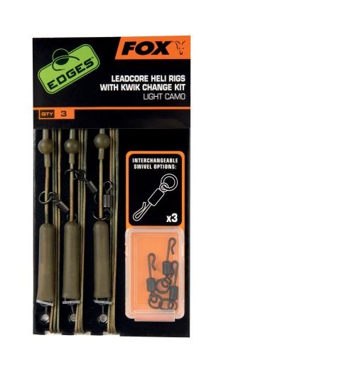 Fox Edges Leadcore Heli Rigs with Kwik Change Kit Helikopter Rigs Leadcore Rigs